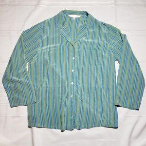 Victorias Secret 100% Silk Button Up Sleep Shirt
